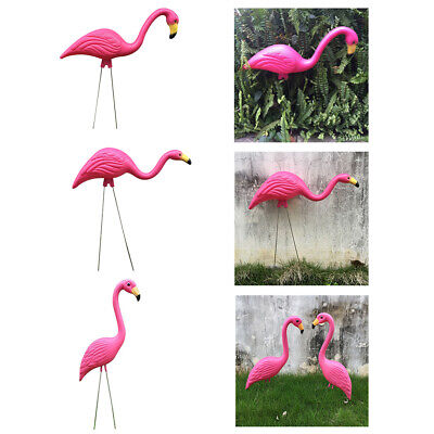 Plastic Pink Flamingo Lawn Figurine Garden Grassland Party Decor Ornament