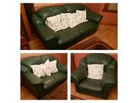 3 Piece Green Leather Sofa Set in good condition and plenty of life left