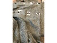 Contemporary pair of 66 x 90 grey eyelet curtains never used