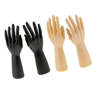 2 Pair Male Mannequin Right Left Hand Jewelry Bracelet Gloves Display Holder