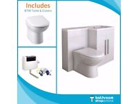 Brand new white L shape bathroom furniture suite Toilet Vanity WC Unit Resin Basin