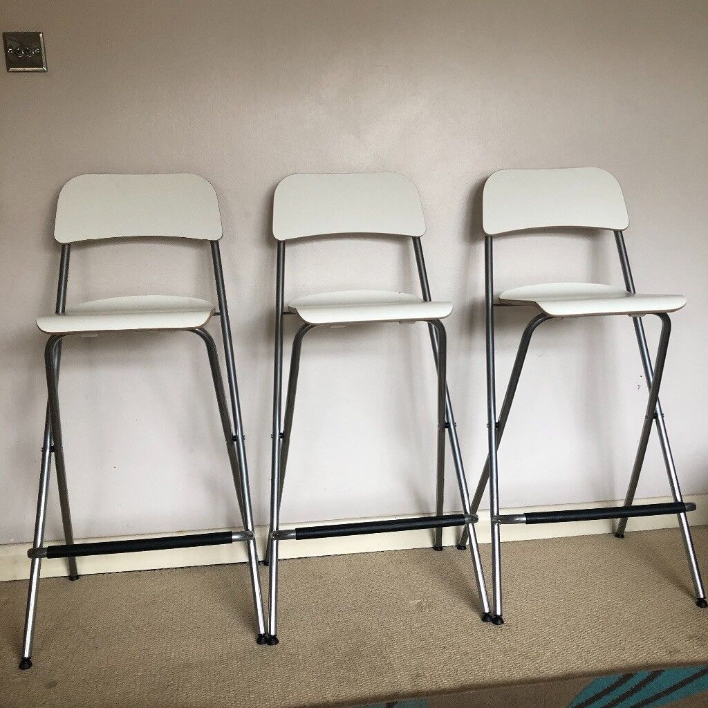 Ikea White Silver Folding Chairs Franklin High Bar Stools