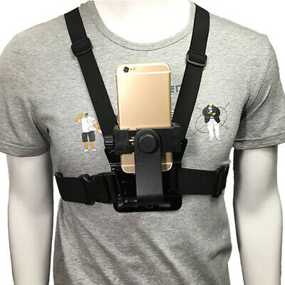 Adjustable Chest Mount Harness Strap Holder with Cell Phone