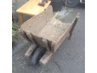 Traditional Rural Antique Victorian Distressed Wooden Wheelbarrow – Strong & Sturdy