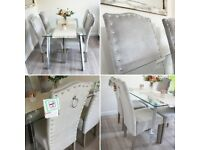 X4 brand new silver grey knocker back studded dining chairs
