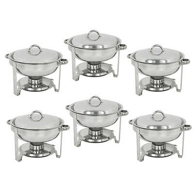 6 Pack Catering Stainless Steel Chafer Chafing Dish Sets 5 Qt Party Pack