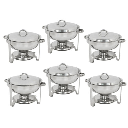 6 PACK CATERING STAINLESS STEEL CHAFER CHAFING DISH SETS 5 QT PARTY PACK Business & Industrial