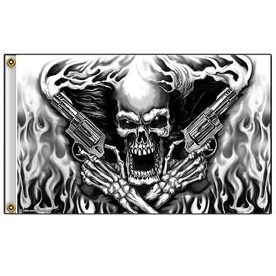 SKELETON W TWIN SMOKE HAND GUNS   3 X 5 MOTORCYCLE BIKER FLAG #352 NEW 5X3 Feet