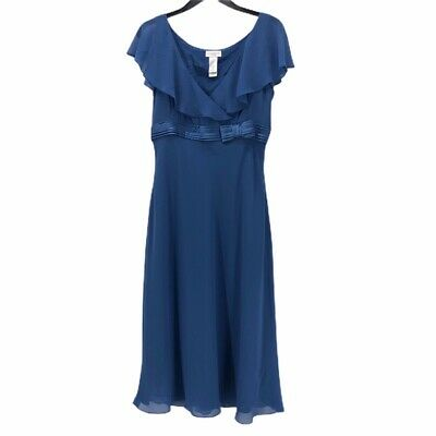 Liz Claiborne Womens Faux Wrap Dress Blue Ruffle V Neck Empire Waist Bow 10 Empire Waist Bow