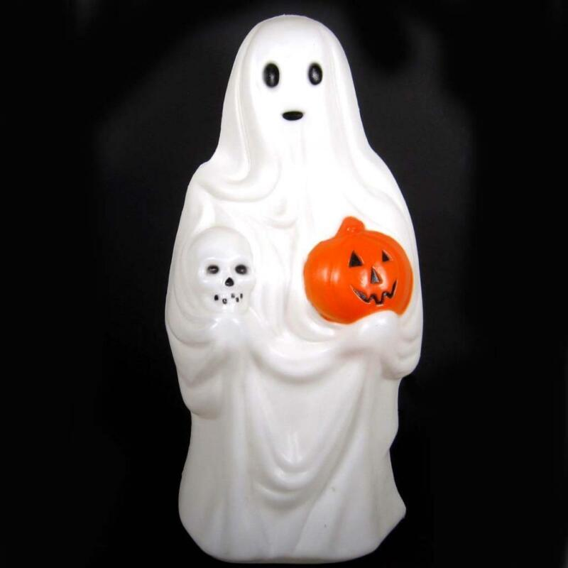 Vtg Empire Halloween Lighted Blow Mold Ghost With Skull & Jack O Lantern 23 In