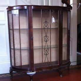 Bow Fronted Vintage Display Cabinet for Shabby Chic Project / Can Deliver
