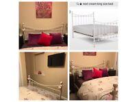 Next cream metal bed frame