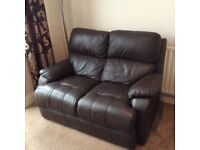 Dark brown leather three and two seater sofas £300 must collect