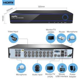 SANNCE 16CH 1080P HDMI 5IN1 CCTV DVR Recorder for Security Camera System H.264