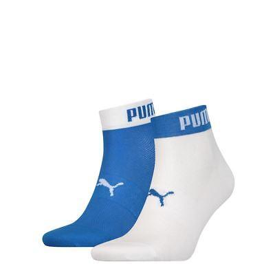 2 Pack Puma Unisex Cotton Rich Quarter Welt Logo Sports Trainer Sock