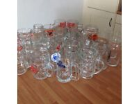 30 Beer Glasses with Handles Party Ware. Like new cond.