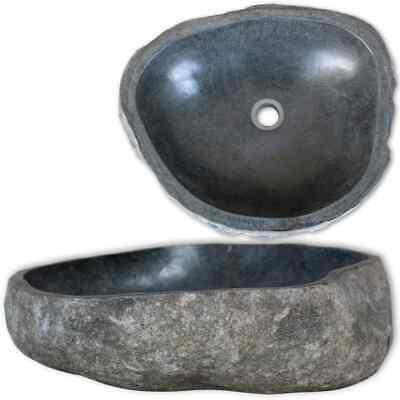 "vidaXL Basin River Stone Oval 17.7"" Sink Single Bathroom Bowl Faucet Drain"