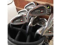 Hippo left handed irons , 3 graphite Woods , Titleist golf bag
