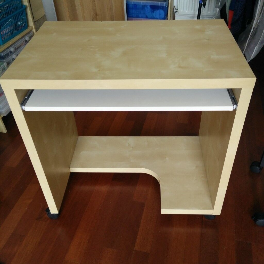 Ikea Birch Computer Table Small Wooden Desk With Casters