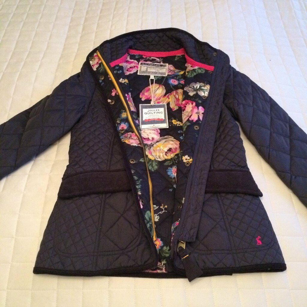 Joules quilted navy jacket - new with tags: size 8