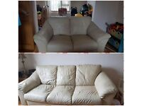 3 seater and two seater cream leather sofa £110