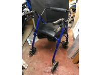 Foldable Walking frame with seat and brakes