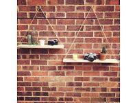 Reclaimed pallet wood hanging shelves handmade, furniture, rustic, eames, mid-century