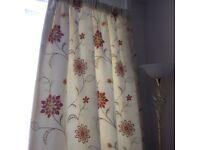 Cream and red sunburst curtains