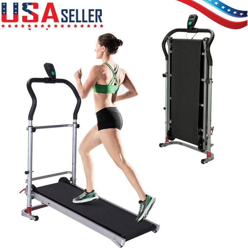 Folding Manual Treadmill Walking Machine Exercise Fitness Gy
