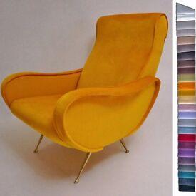 Marco Zanuso armchair `Lady` style in velvet, Italian