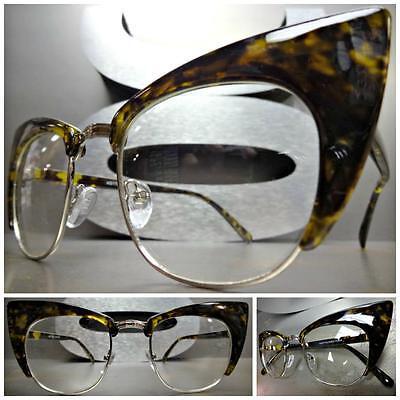 CLASSIC VINTAGE RETRO CAT EYE Style Clear Lens EYE GLASSES Tortoise Silver Frame