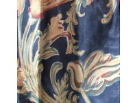 Lined ready made curtains floral blues 48 x 54 Pair