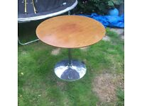 walnut circle dinning table with chrome stand