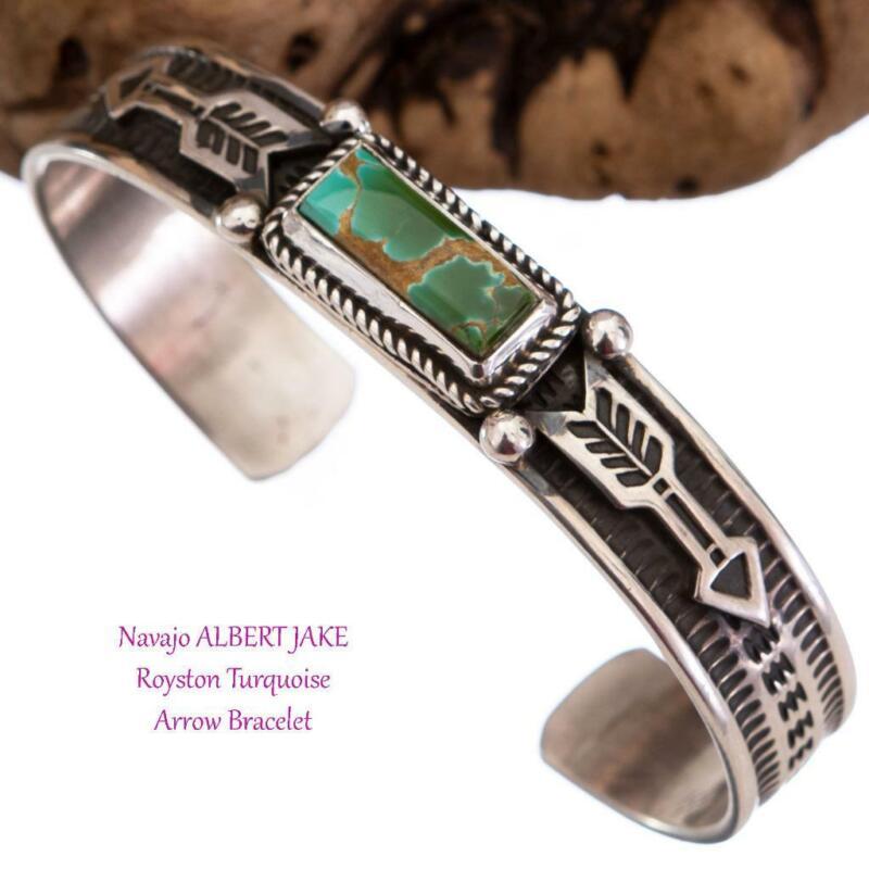 ALBERT JAKE Turquoise Bracelet ROYSTON Sterling Silver Navajo ARROWS Old Style
