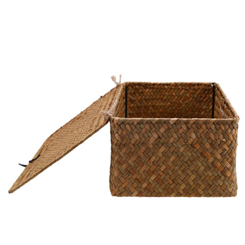 Woven Seagrass Storage Box Baskets with Lid for Home Decor,