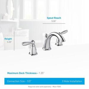 NEW Moen T6620 Brantford Two-Handle Low Arc Bathroom Faucet without Valve (Chrome)