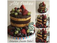 Naked cake vanilla/chocolate with fresh fruit and sweetie surprise inside!! £50