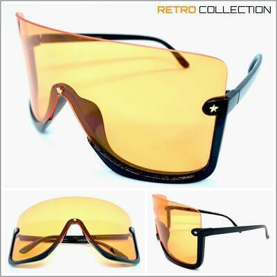 Übergröße 90s Retro Gesicht Shield Visier Sonnenbrillen Riesig Groß XL Orange
