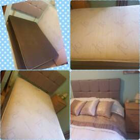 Bed, orthopaedic mattress, headboard & also a thick memory foam topper