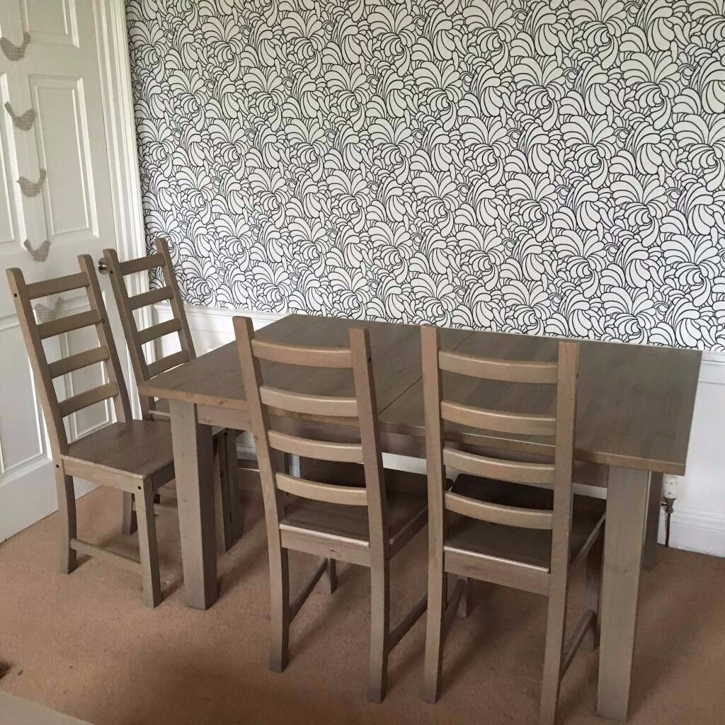 Dining table extending and 4 chairs brown stained solid wood ikea stornas table kaustby - Ikea wooden dining table chairs ...