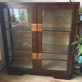 Art Deco wood inlay and glass cabinet
