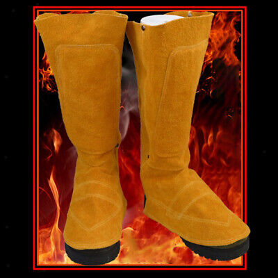 Long Welding Spats Shoe Cover Leather Welder Feet Protector 17 Height