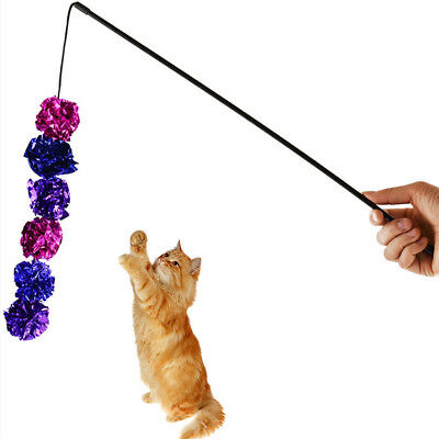 Plastic Kitten Pet Cat Teaser Ribbon Interactive Fun Toy with Bell