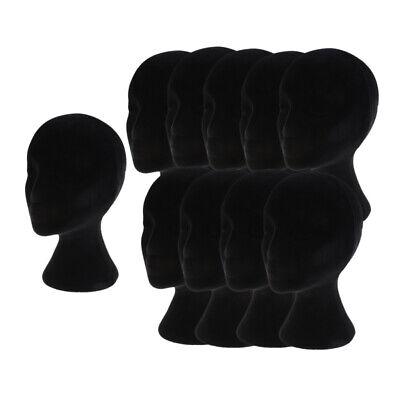 10pcs Black Styrofoam Mannequin Manikin Head Model Wigs Glasses Display Stands