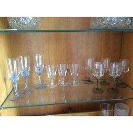 11 assorted glasses