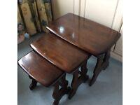 Ercol Dark Wood Nest of Tables, genuine 1960's