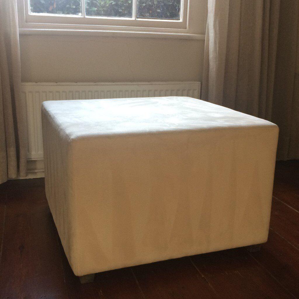 2 Cream Suede Cubes - 72cm square x 49cm high