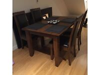 Solid wooden Oak table and chairs
