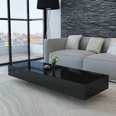 Coffee Table High Gloss Accent Tea Side Living Room Furniture Modern Stand Black