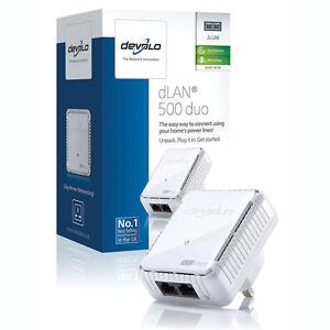 devolo dlan 500mbps duo network bridge ethernet powerline adapter mini compact ebay. Black Bedroom Furniture Sets. Home Design Ideas